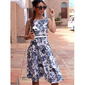 Retro Style Jewel Neck Sleeveless Floral Print Belted Flare Dress For Women -