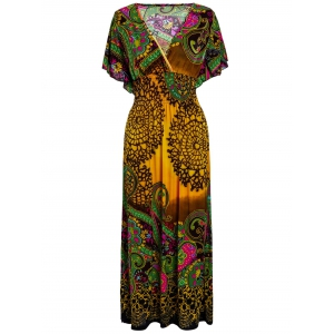 Bohemian Kimono Sleeves African Maxi Dress - Orange - One Size
