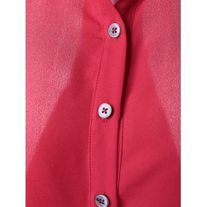 Fashionable Slimming Shirt Collar Midi Pattern Blouse For Women - RED L