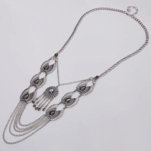Vintage Water Drop Wings Necklace For Women - SILVER