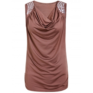 Stylish Draped Collar Studded Solid Color Top For Women - Brown - M