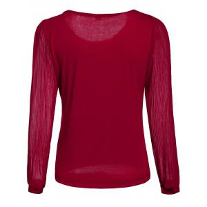 Pleated Sleeve Ruffle Neck Blouse - WINE RED M