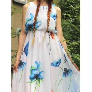 Bohemian Scoop Neck Sleeveless Floral Cocktail Dress - WHITE S