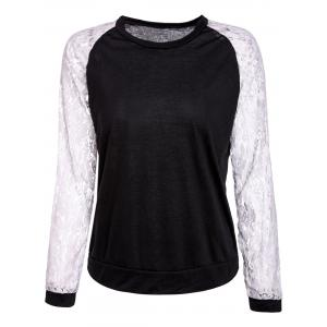 Sweet Round Neck Lace Splicing Long Sleeve Sweatshirt For Women