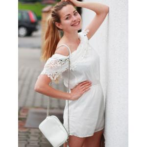 Stylish Women's Off The Shoulder Lace Spliced Crocheting Romper -