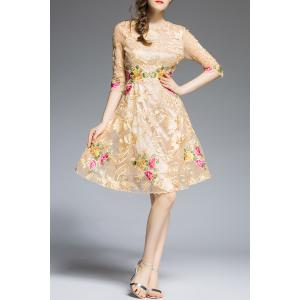 Floral Embroidered Knee Length A Line Dress -