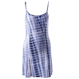 Fashionable U-Neck Sleeveless Tie-dye Spaghetti Strap Dress -