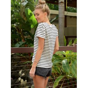 Casual Cuffed Sleeve Pullover Striped T-Shirt For Women -