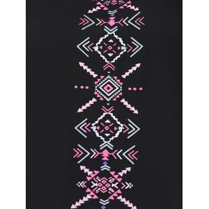 Ethnic Style Plus Size Embroidered High Low Tank Top - BLACK 4XL