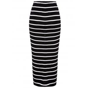 Turtle Neck Long Sleeve Crop Top + Bodycon Striped Maxi Skirt Twinset - BLACK L