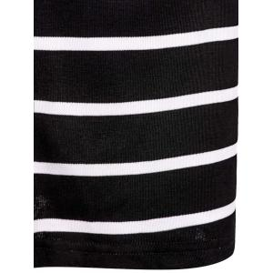 Turtle Neck Long Sleeve Crop Top + Bodycon Striped Maxi Skirt Twinset - BLACK M