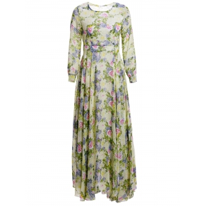 Floral Print Maxi Long Sleeve Dress