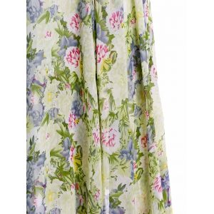 Floral Print Maxi Long Sleeve Dress - GREEN M