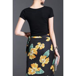 Crop Top and Floral Print Skirt -