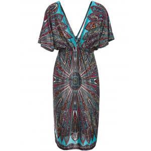 Bohemian Plunging Neck Short Sleeve Waist Drawstring Printed Women's Dress -