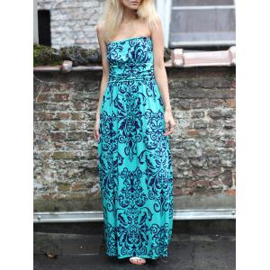 Printed Maxi Bandeau Strapless Maxi Beach Dress