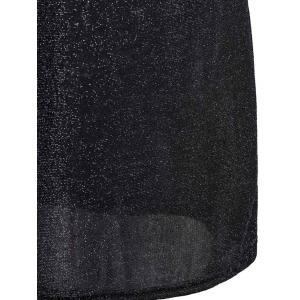 Slimming Round Neck 1/2 Sleeve Sequined See-Through Women's Dress -