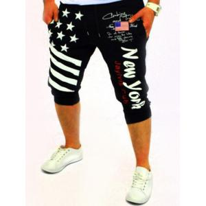 Casual Lace Up Stars Printed Cropped Jogger Pants