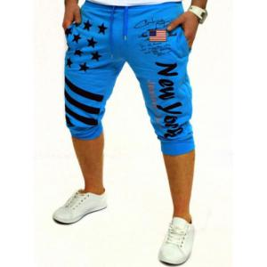 Casual Lace Up Stars Printed Cropped Jogger Pants - Lake Blue - L