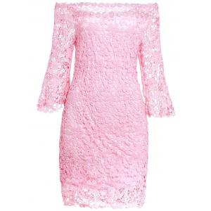 Sweet Slash Collar 3/4 Sleeve Solid Color Lace Women's Dress