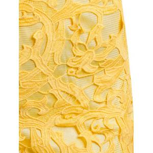 Round Neck Hollow Out Lace Sheath Dress - YELLOW S
