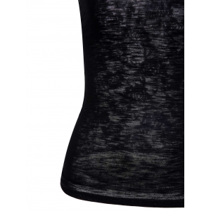 Stylish Scoop Neck Lace Splicing Black Tank Top For Women -