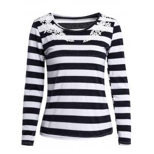 Stylish Scoop Neck Long Sleeve Striped Laciness Women's T-Shirt