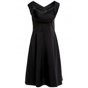 Retro Sweetheart Neck Solid Color Midi Dress For Women