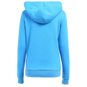 Casual Style Loose-Fitting Solid Color Long Sleeve Women's Hoodie - BLUE L