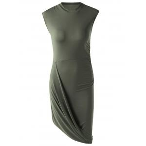 Trendy Solid Color Sleeveless Pleated Asymmetric Dress For Women - Army Green - S
