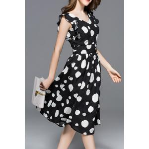Ruffled Sleeve Polka Dot Print Dress -