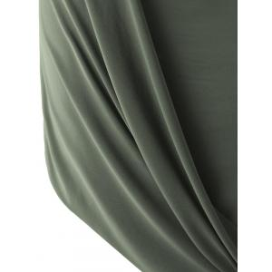 Trendy Solid Color Sleeveless Pleated Asymmetric Dress For Women - ARMY GREEN L