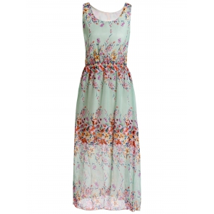 Floral Print Chiffon Maxi Sleeveless Dress - Light Green - One Size