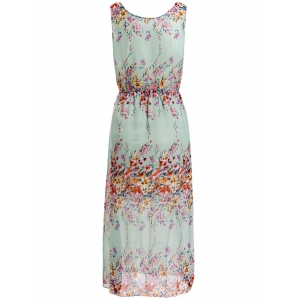 Floral Print Chiffon Maxi Sleeveless Dress -