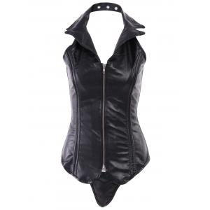 Sexy Turn-Down Collar PU Leather Corset For Women