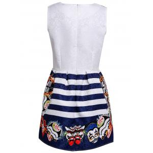Retro Round Collar Striped Facial Makeup Print Sleeveless Dress For Women -