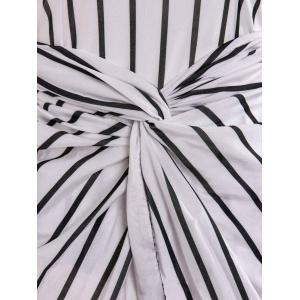 Fashionable Round Neck Striped Pleated Bodycon Dress For Women -