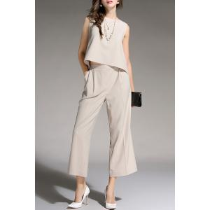 Sleeveless Top and Wide Leg Pants - APRICOT XL