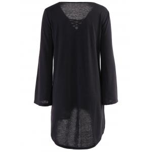 Loose Lace Up Long Sleeve Dress - BLACK M