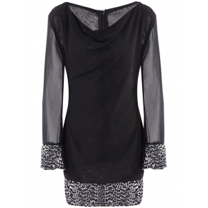 Cowl Neck Long Sleeve Sequins Dress - BLACK M