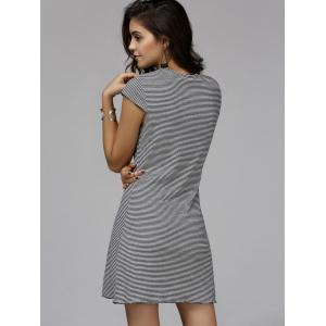 Casual Round Neck Cap Sleeve Rib Dress For Women - STRIPE L