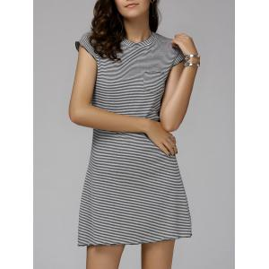 Casual Round Neck Cap Sleeve Rib Dress For Women