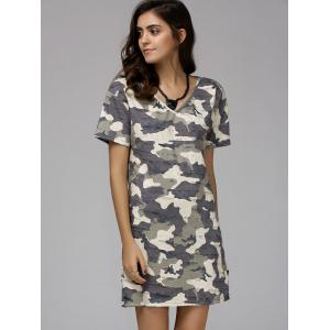 V-Neck Short Sleeve Camo Tee Dress - COLORMIX L