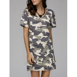 V-Neck Short Sleeve Camo Tee Dress