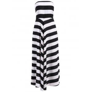 Bandeau Striped Maxi Prom Party Dress - White And Black - S