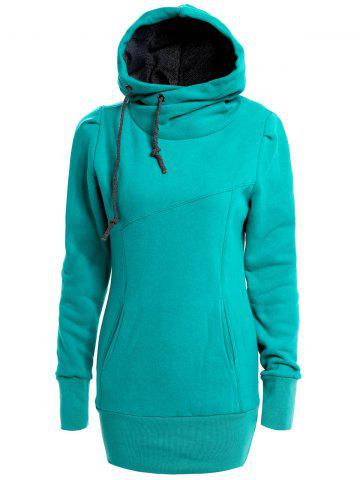 New Long Sleeves Hooded Draw String Pockets Beam Waist Korean Style Casual Women's Hoodie GREEN S
