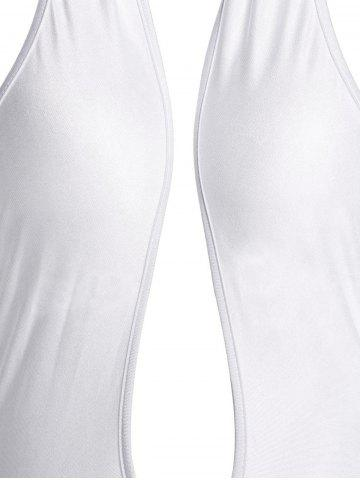 New Sleeveless Criss-Cross Halter Plunge Backless Sexy Jumpsuit - S WHITE Mobile