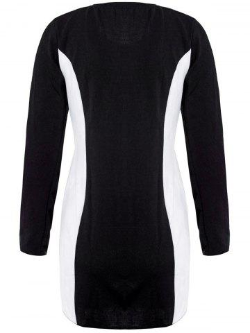 Trendy Casual Style Scoop Neck Long Sleeves Color Block Polyester Women's Dress - M BLACK Mobile