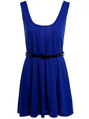 Simple Scoop Neck Sleeveless Backless Solid Color Women's Dress - Sapphire Blue - M