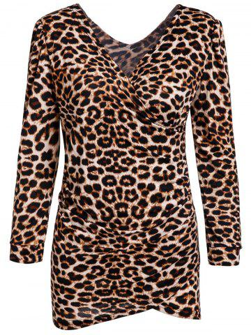 Outfits Low-Cut V-Neck Leopard Print Mini Long Sleeves Alluring Women's Bodycon Dress LEOPARD M
